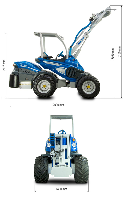 Multione GT950 Mini Articulated Loader Lift Height